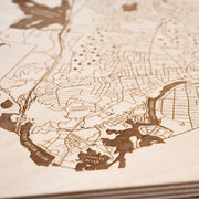 Waltham Engraved Wood Map - Etched Atlas