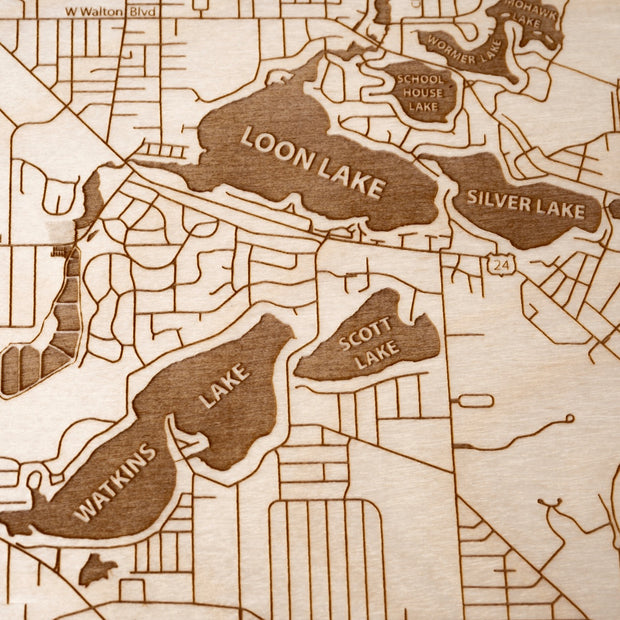 Waterford Engraved Wood Map - Etched Atlas