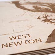 West Newton Engraved Wood Map - Etched Atlas