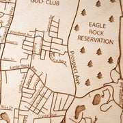 West Orange Engraved Wood Map - Etched Atlas