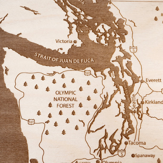 Pacific Northwest Engraved Wood Map - Etched Atlas