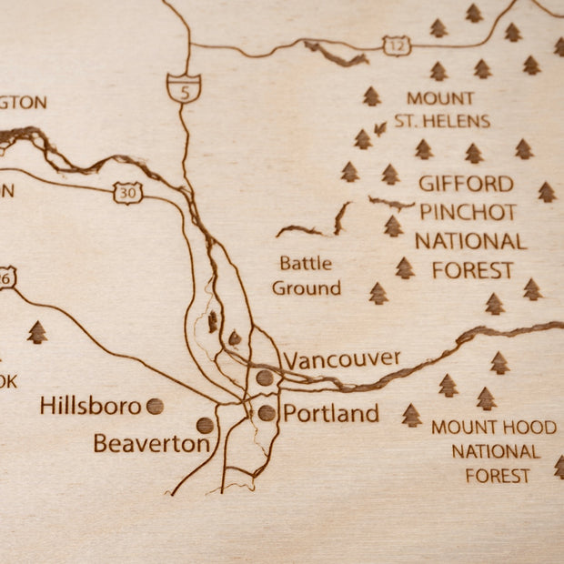 Pacific Northwest Custom Map Gift - Etched Atlas