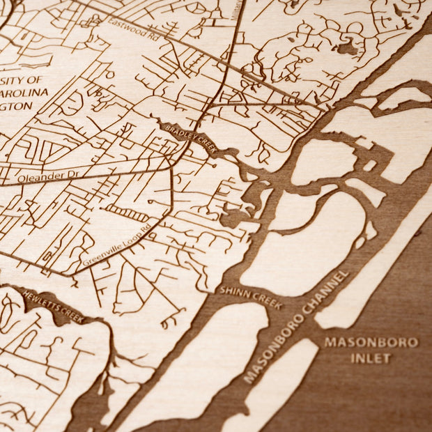 Wilmington Engraved Wood Map - Etched Atlas
