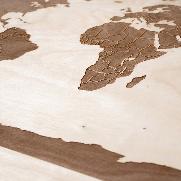 World Map (with country borders) Custom Map Gift - Etched Atlas