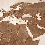 World Map (with country borders) Engraved Wood Map - Etched Atlas