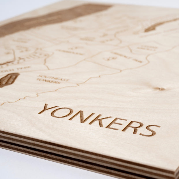 Yonkers Engraved Wood Map - Etched Atlas