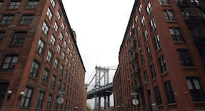 photos of Brooklyn warehouses with Manhattan Bridge in background