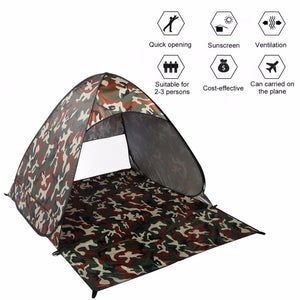 Outdoor 2-3 Persons Tent Quick Automatic Pop up Instant Portable Cabana Beach Tent Camping Fishing Picnic Shelter for Beach Park