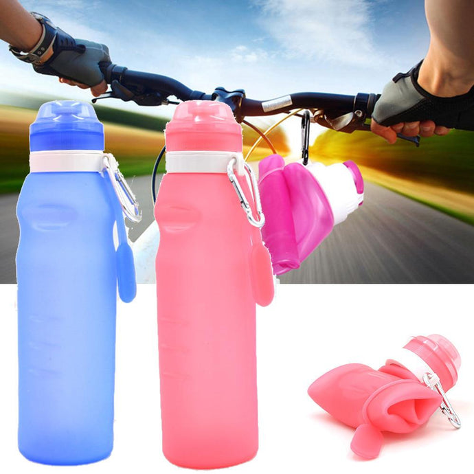 2017 New 600ml Creative Collapsible Foldable Silicone Drink Sport Bottle Camping Travel Plastic bicycle bottle