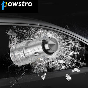 Powstro Car-Charger Metal Car Charger 2.1A USB Charge Port Emergency Survival Car Cigarette Lighter Charger Car Safety Hammer