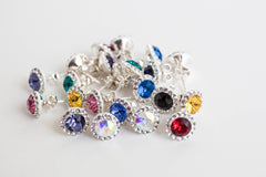 Dazzling Daisy Stud Earrings in silver with colourful stone crystals | Shop in Ireland