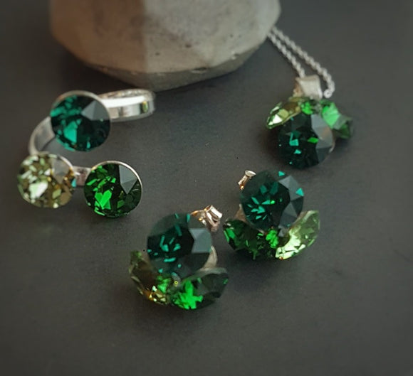 Shades of Green Crystal Fusions Necklace, Earrings and/or Ring