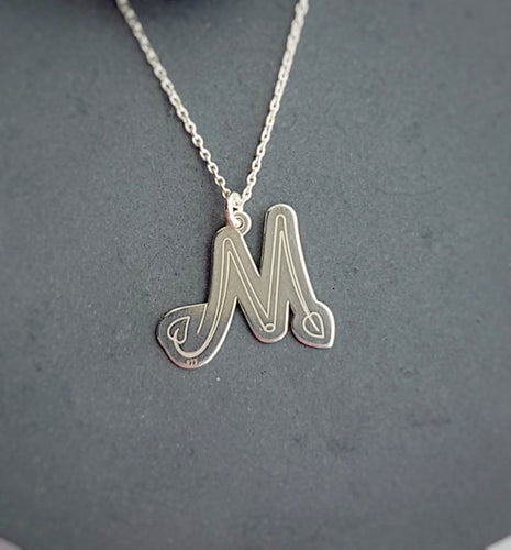 Personalised Large Initial Necklace - letter M pendant, [product type], - Personalised Silver Jewellery Ireland by Magpie Gems