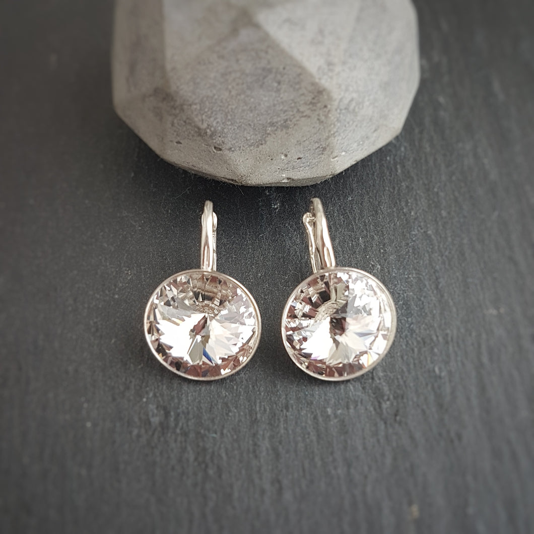 Silver Earrings with 14mm Round Crystals