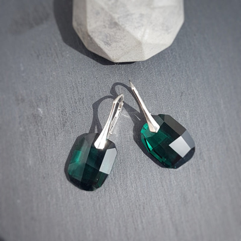 Large Emerald Green Crystal Earrings | Silver or 24k Gold plated