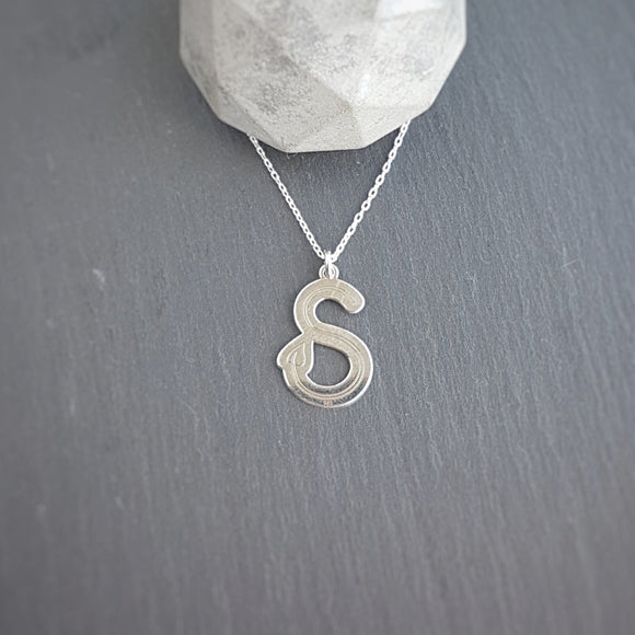 Personalised Large Initial Necklace - letter S pendant, [product type], - Personalised Silver Jewellery Ireland by Magpie Gems