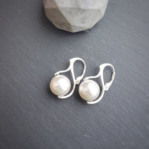 Pearl Drop Earrings with silver leverbacks | choose your colour, [product type], - Personalised Silver Jewellery Ireland by Magpie Gems