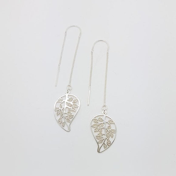 Tree of Life Leaf Threader Earrings | Long Drop, [product type], - Personalised Silver Jewellery Ireland by Magpie Gems