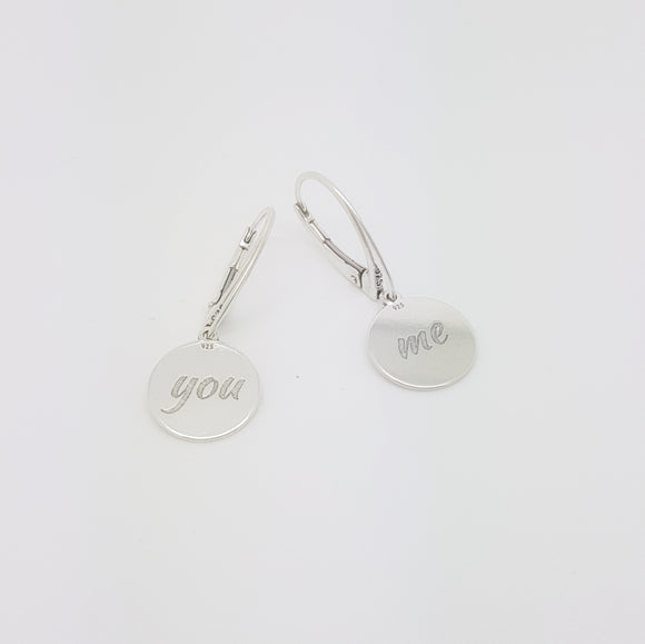 You & Me Leverback Earrings, [product type], - Personalised Silver Jewellery Ireland by Magpie Gems