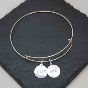 You & Me Silver Bangle Bracelet, [product type], - Personalised Silver Jewellery Ireland by Magpie Gems