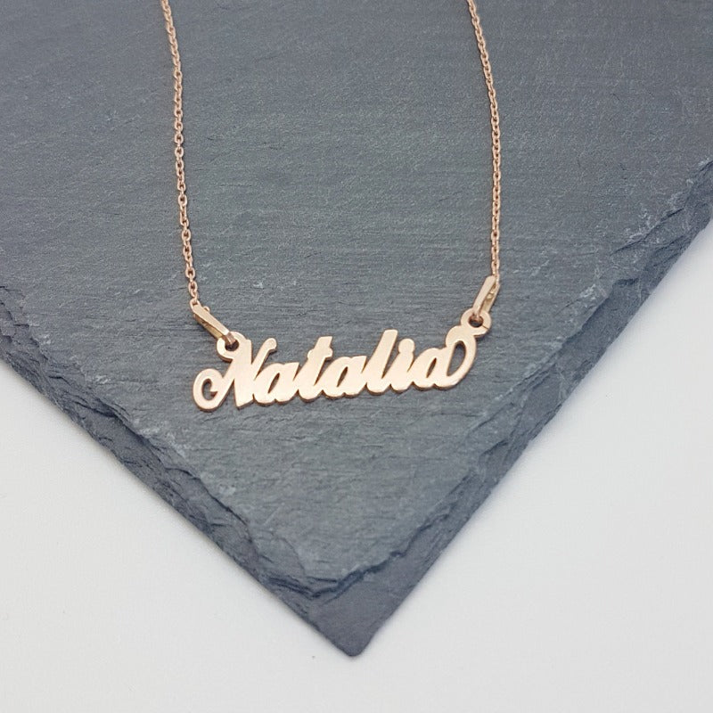 Natalia - Name necklace with 18k Rose Gold Plated Sterling Silver, [product type], - Personalised Silver Jewellery Ireland by Magpie Gems
