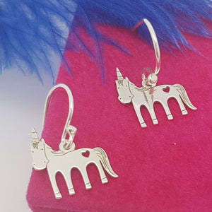 I BELIVE IN MAGIC – Unicorn Hook Earrings, [product type], - Personalised Silver Jewellery Ireland by Magpie Gems