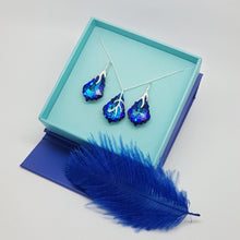 Load image into Gallery viewer, Vibrant multicoloured Bermuda Blue rainbow crystal leverback earrings and necklace jewellery set with sterling silver lever back, earrings for pierced ears. Sparkly and classy, will compliment any attire with its baroque Swarovski Crystal