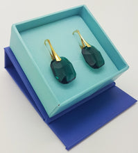 Load image into Gallery viewer, Large Emerald Green Crystal Earrings | Silver or 24k Gold plated