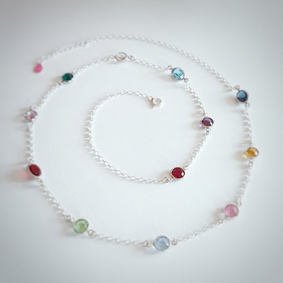 BE COLOURFUL - 12 CRYSTAL BIRTHSTONE Multi colored layering necklace