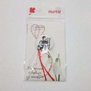 Brooch Martisor Brosa - red and white string