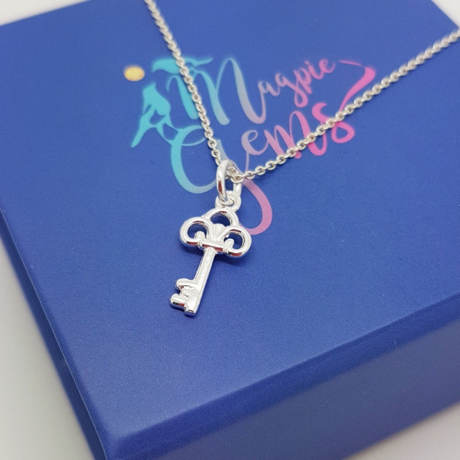 Ambition & Success Key Silver Necklace