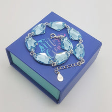 Load image into Gallery viewer, Aquamarine crystal link bracelet