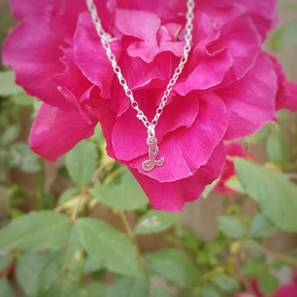 Initial pendant silver necklace