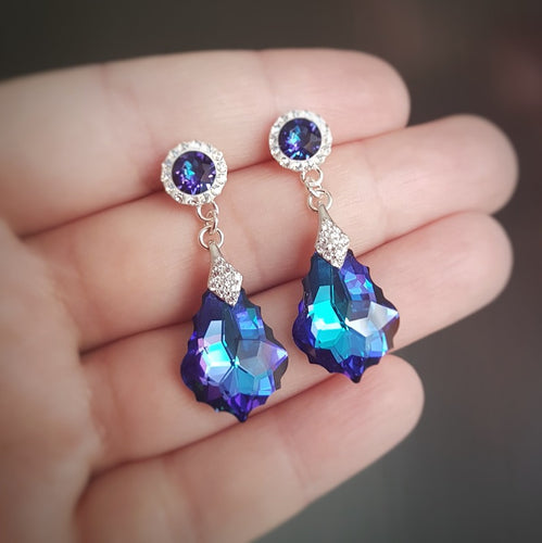 Long drop heliotrope purple silver earrings with purple baroque stone and diamonte crystals. Ireland