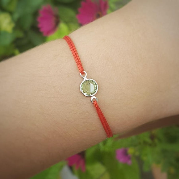Birthstone Crystal Red String Bracelet
