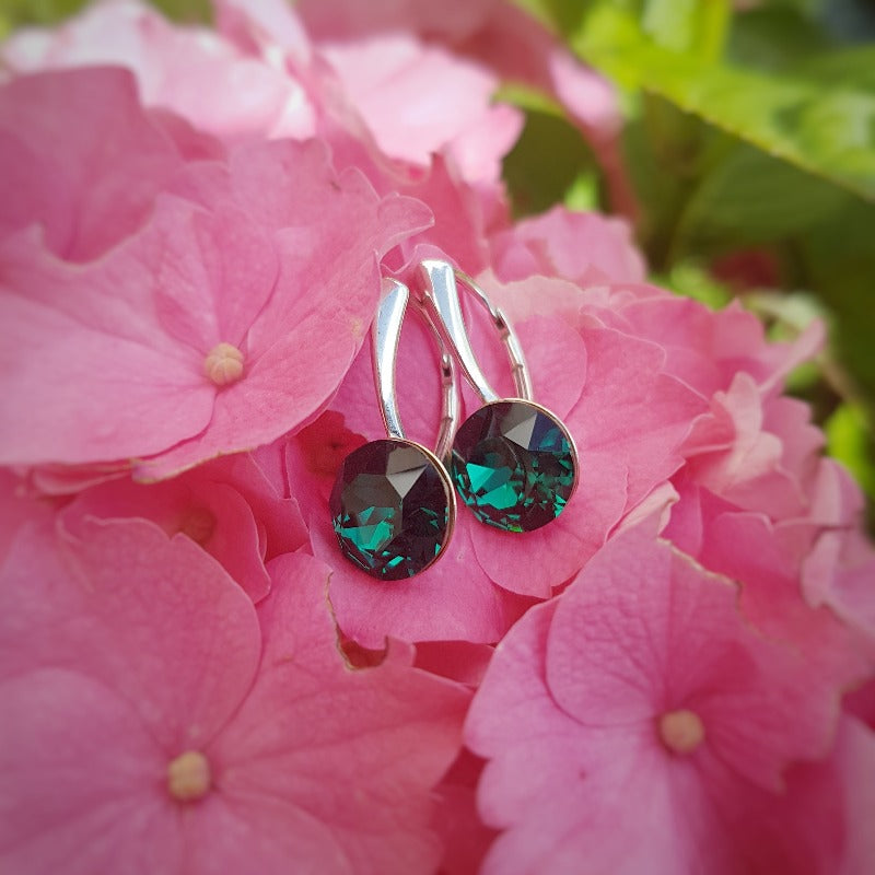 Emerald Crystal Earrings in Silver