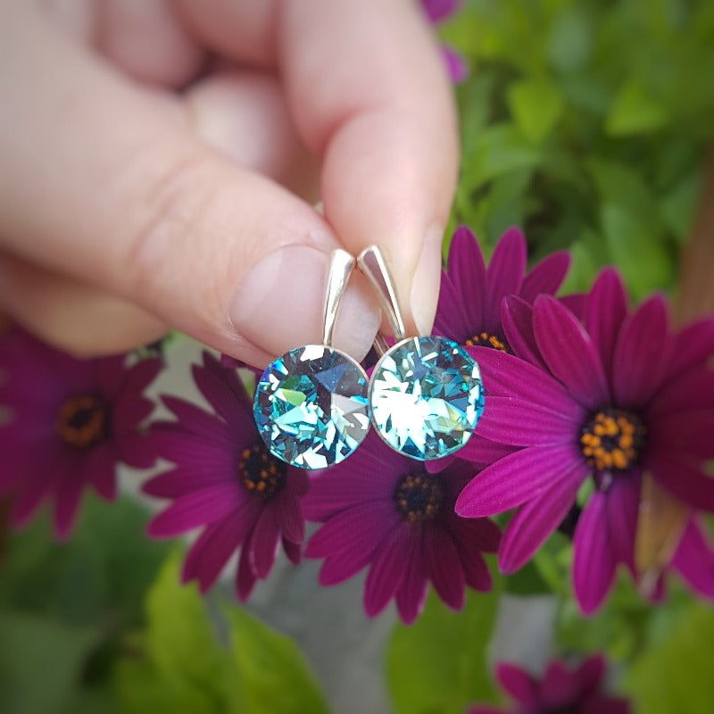 Light Turquoise Crystal Earrings in Silver