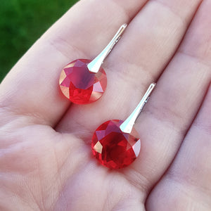 Red Silver Earrings | 3 sizes available
