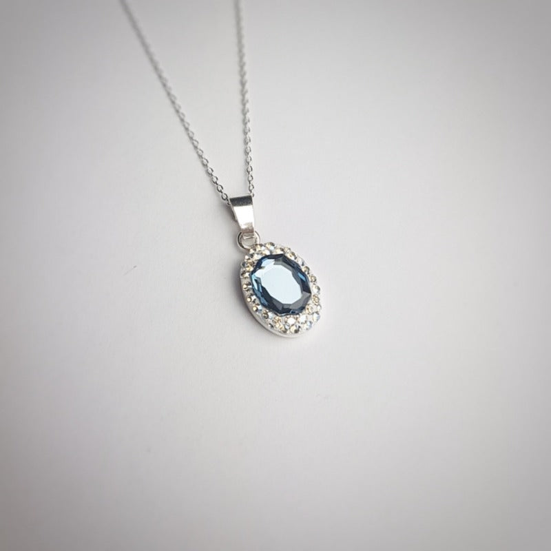 Oval Pave Style Silver Necklace | Choose your colour