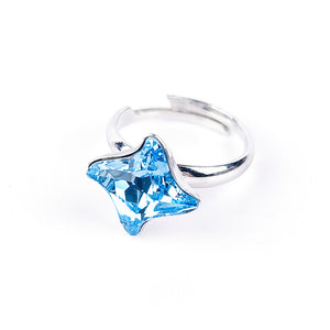 Aquamarine Solitaire Ring in Silver - Twister Sky