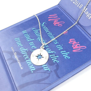 FINDING YOUR WAY | COMPASS WIND ROSE Silver Necklace