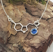 Load image into Gallery viewer, Be Happy Silver Charm Necklace | Serotonin Molecule with a Birthstone, [product type], - Personalised Silver Jewellery Ireland by Magpie Gems