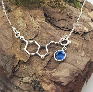 Be Happy Silver Charm Necklace | Serotonin Molecule with a Birthstone, [product type], - Personalised Silver Jewellery Ireland by Magpie Gems
