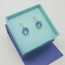 Load image into Gallery viewer, Aquamarine Crystal Earrings in Silver