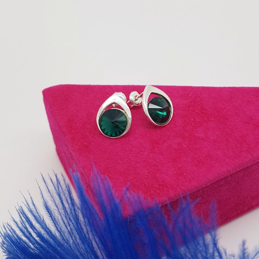 Emerald Green Stud Earrings in Silver