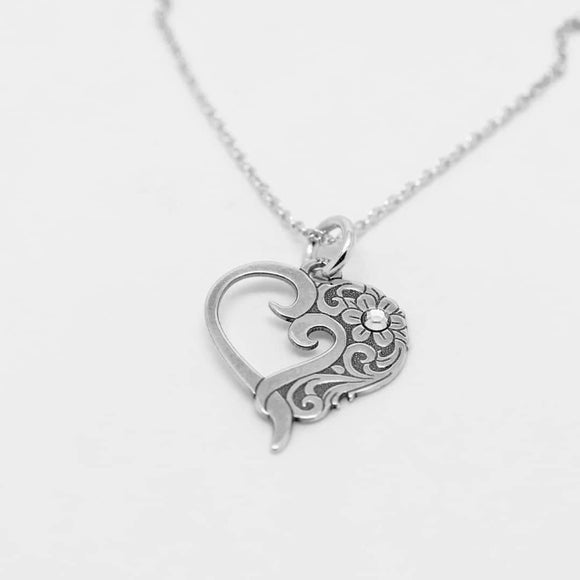 Romantic Heart Silver Necklace