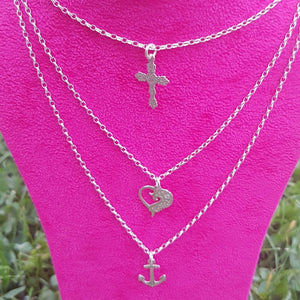 Faith Love Hope Layering Silver Necklace