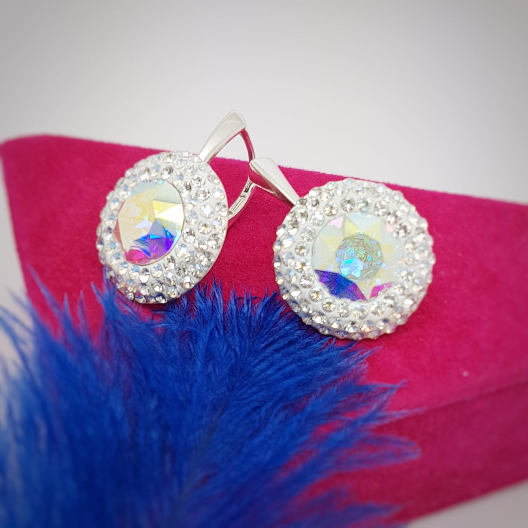 Extra Large Drop Leverback Earrings | Bridal Sparkly Earrings, [product type], - Personalised Silver Jewellery Ireland by Magpie Gems