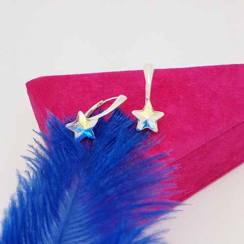 Little Miss Star Leverback Earrings | Choose your color, [product type], - Personalised Silver Jewellery Ireland by Magpie Gems