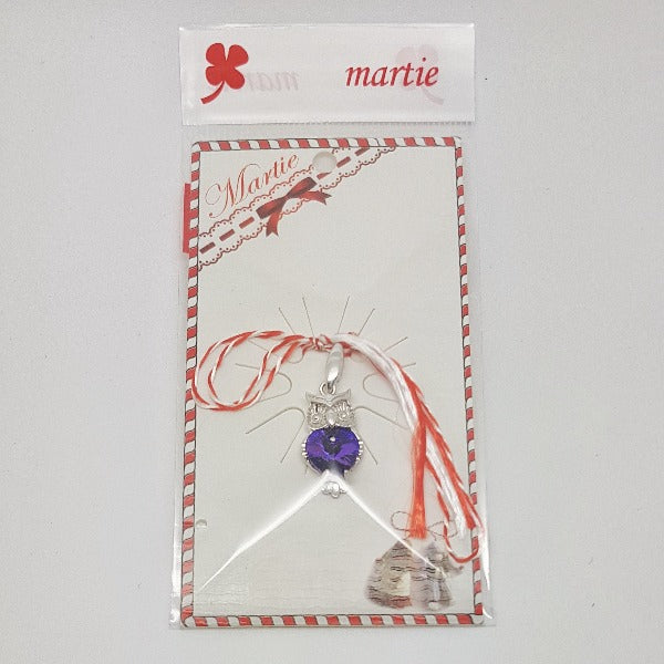 Martisor Owl with Purple Heart Crystal